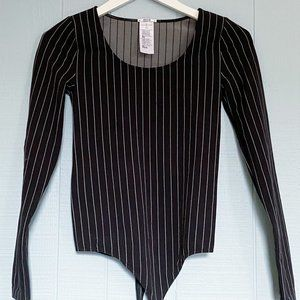 WOLFORD Striped Black & White Scoop Long Sleeve